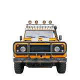 Safari Jeep. Isolated photo of an off-road safari jeep or car. The vehicle is yellow colored and rusty. There are extra lights on top of it. Png format is Royalty Free Stock Photo