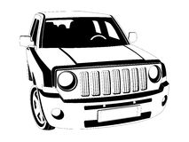Off-road car. Vector black and white image of SUV car on white background Royalty Free Stock Photography