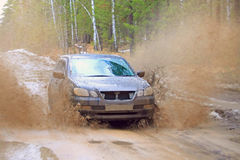 Off road car. Impassability by the car in the spring Royalty Free Stock Image