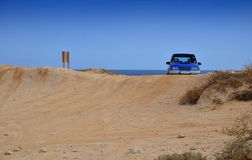 Off road car in beach Stock Images