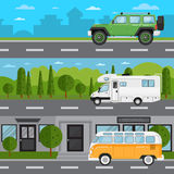 Off road car, camper van and retro bus on highway Royalty Free Stock Image