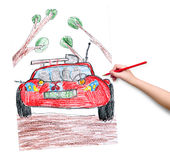 Off road car. child drawing. Stock Photography