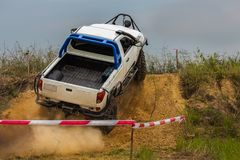 Off road car in dirt track. Off road car competition in dirt track Royalty Free Stock Image