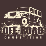 Off-road 4x4 Car Competition. Off-road Competition emblem vector illustration. 4x4 car in mud Vector Illustration