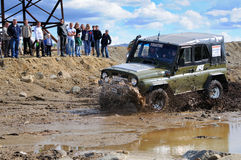 Off-road car in difficult terrain Stock Photo