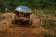 Off road car in dirt track. Off road car ramping in dirt track Stock Photos