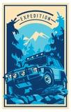 Off-road car logo, safari suv, expedition offroader. Stock Images