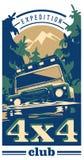 Off-road car logo, safari suv, expedition offroader. Royalty Free Stock Images