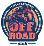 Off-road car logo, safari suv, expedition offroader. Stock Photo