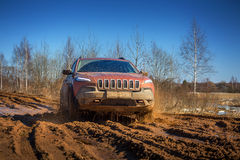 Off road car in mud Stock Photography