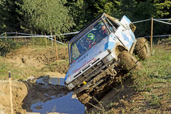 Off road car over water obstacle Stock Photography