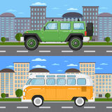 Off road car and retro bus in urban landscape Stock Photography