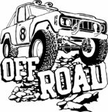 Off-road car on rocks black and white royalty free illustration