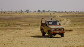 Off-road car on Thar desert royalty free stock images