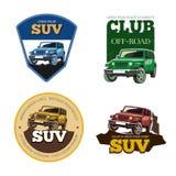 Off-road car vector emblems, labels and logos Royalty Free Stock Photos