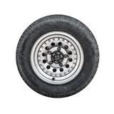 Off-road car wheel, front view isolated on white Royalty Free Stock Photo