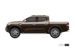Off-road car on white background. Image of a brown pickup truck Stock Photography