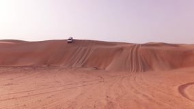 Off-road cars with tourists descend from a high dune in Rub al Khali desert stock footage video