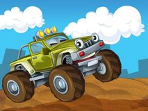 The off road cartoon car - illustration for the children Royalty Free Stock Photo