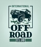 Off Road Club. Extreme competition emblem. Off-roading suv adventure and car event design elements. Beautiful vector illustration in green color isolated on a vector illustration