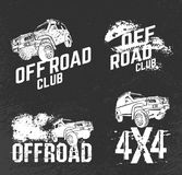 Off Road Club Logos. Off-road logo set. Extreme competition emblem. Off-roading suv adventure and car club elements. Beautiful vector illustration in white color vector illustration