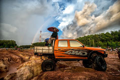 Off-road 4x4 competition. Off-road racing on August 2014 at Suratthani. Thailand,Free of charge,Open event Stock Photo