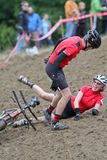 Off-Road Cyclocross Tandem. An Off-Road Cyclocross Tandem crashes during the single speed division at the Cross Crusade Cyclocross series in Portland, Oregon Stock Photography