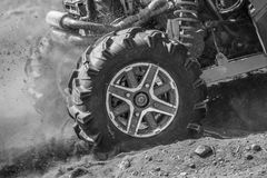 Off-road. Detailed view of motion the wheels tires, off-road Royalty Free Stock Images