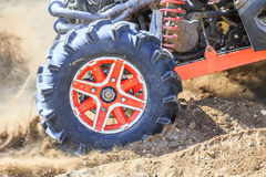 Off-road. Detailed view of motion the wheels tires, off-road Royalty Free Stock Image
