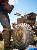 Off-road dirt atv from low point. Against blue sky Royalty Free Stock Photos