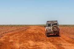 Off road driving with Toyota Land Cruiser through the Outback of South Australia. Somewhere along the Oodnadatta Track in South Australia, Australia, 19 december royalty free stock photo
