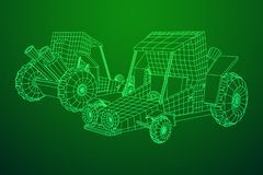 Off road dune buggy car. Terrain vehicle. Outdoor car racing, extreme sport oncept. Wireframe low poly mesh vector illustration royalty free illustration