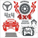Off-road elements and emblem - vector set Stock Photo