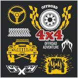 Off-road elements and emblem - vector set Stock Photography