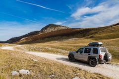 Off road expedition to rural unspoiled Bosnia steppe.  royalty free stock image