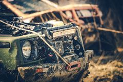 Off Road Expedition. Two Dirty Sport Utility Vehicles Covered by Mud. Motorsport Theme stock image