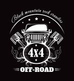 Off-road extreme car or auto driver club vector poster. Off-road 4x4 extreme car club poster. Vector design of off road car or truck with wheel tires and motor Royalty Free Illustration