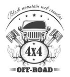 Off-road 4x4 extreme car club logo template. Vector symbol. Or icon of off road car stock illustration