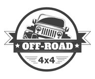 Off-road 4x4 extreme car club logo template. Vector symbol Royalty Free Stock Photos