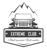 Off-road 4x4 extreme car club logo template. Vector symbol. Or icon of off road car Royalty Free Illustration