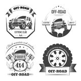 Off-road 4x4 extreme car club logo templates for design projects. Vector symbols and icons of off road car or truck with wheel tires and motor engine piston royalty free illustration