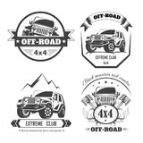 Off-road 4x4 extreme car club logo templates. Vector symbols. And icons of off road car or truck with wheel tires and motor engine piston for mountain or rock royalty free illustration
