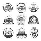 Off-road extreme car or auto driver club vector icons template set. Off-road 4x4 extreme car club logo templates. Vector symbols and icons of off road car or Stock Illustration