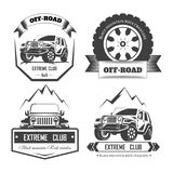 Off-road 4x4 extreme car club logo templates. Vector. Symbols and icons of off road car or truck with wheel tires and motor engine piston for mountain or rock Royalty Free Illustration