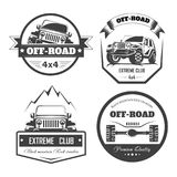 Off-road 4x4 extreme car club logo templates. Vector symbols. And icons of off road car or truck with wheel tires and motor engine piston for mountain or rock Stock Illustration