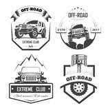 Off-road 4x4 extreme car club logo templates. Vector symbols. And icons of off road car or truck with wheel tires and motor engine piston for mountain or rock vector illustration