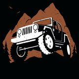 Off-Road Extreme Sport in the Mountains. Stylized illustration of off-road 4x4 vehicle on extreme mountain path Stock Illustration