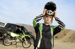 Off Road Female Rider Wearing Helmet Stock Image