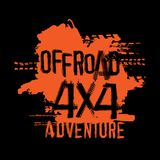 Off-Road Handmade Lettering. Off-Road 4x4 adventure hand drawn grunge lettering. Tire tracks words made from unique letters. Beautiful vector illustration Royalty Free Stock Photo