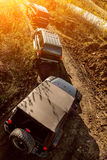 Off-road journey to the big SUV. In sunlight Stock Image